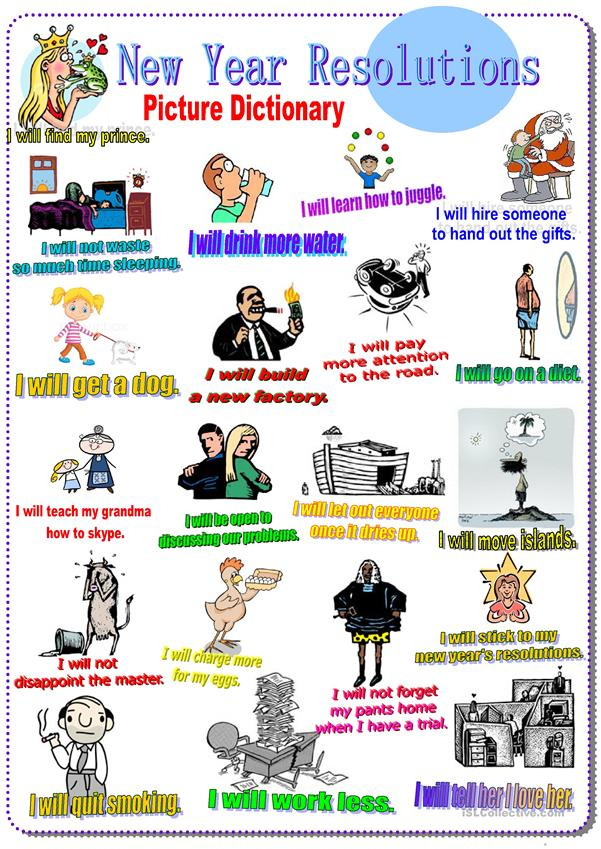 New Year Resolutions. Picture Dictionary (Future tense will)