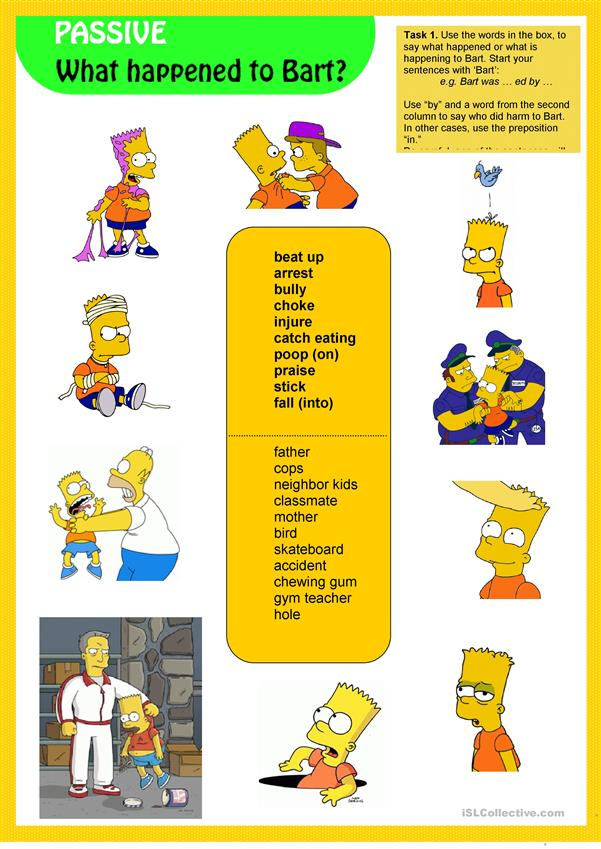 What happened to Bart? (Passive Pictionary)
