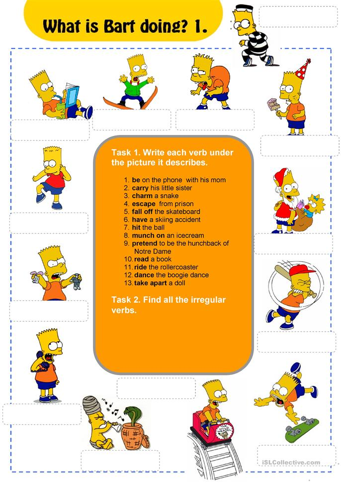 What Is Bart Doing?  - ESL worksheets