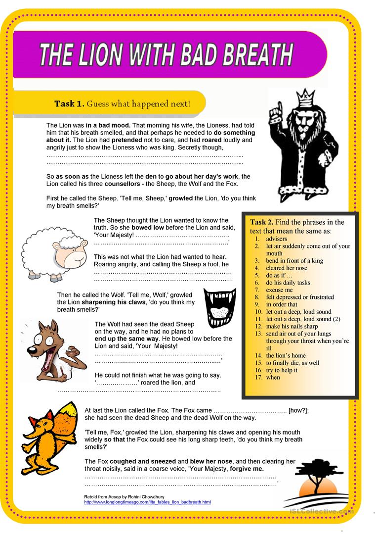 worksheet Fables Worksheets 24 free esl fables worksheets the lion with bad breath fable