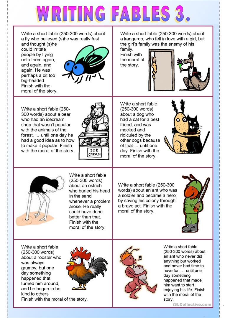 Writing Fables 8. - English ESL Worksheets for distance learning