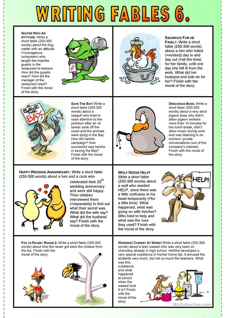 Writing Fables 6  - English ESL Worksheets