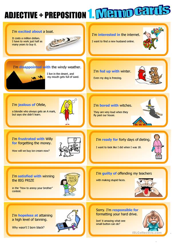 Adjective + Preposition: Memo cards 1.