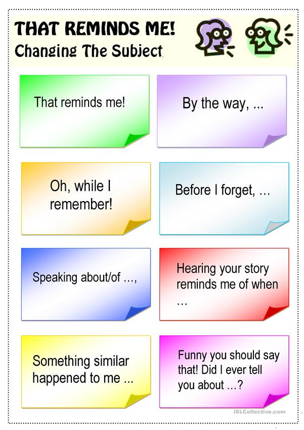 Changing the subject (Conversation Cards)