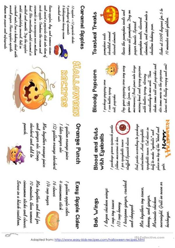 HALLOWEEN RECIPES MINIBOOK