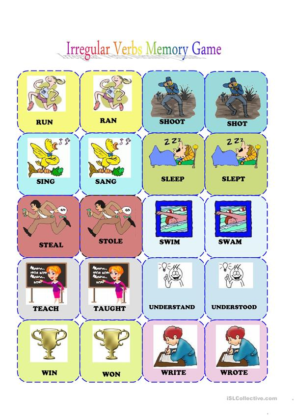 irregular verbs memeory card game (3/3)