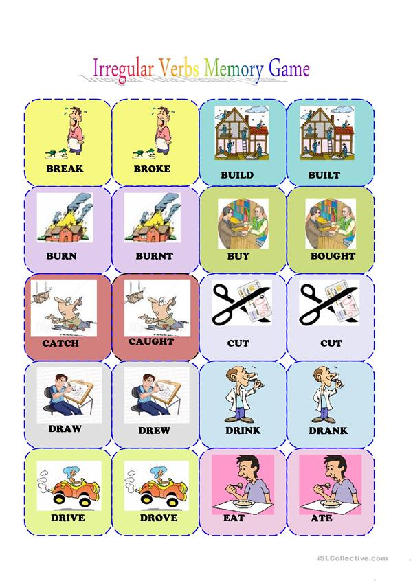 irregular verbs memory card game( 1/3)