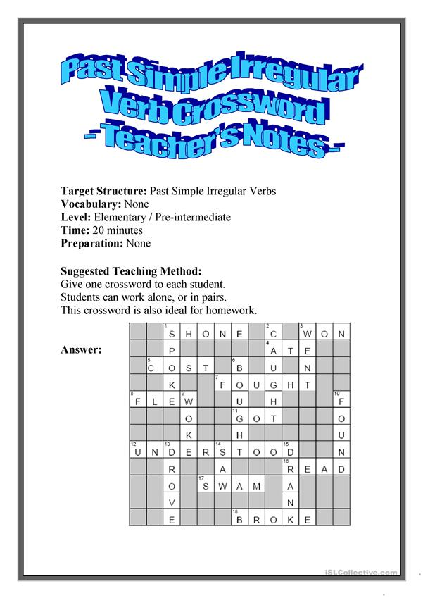 Past Simple Irregular Verb Crosswords