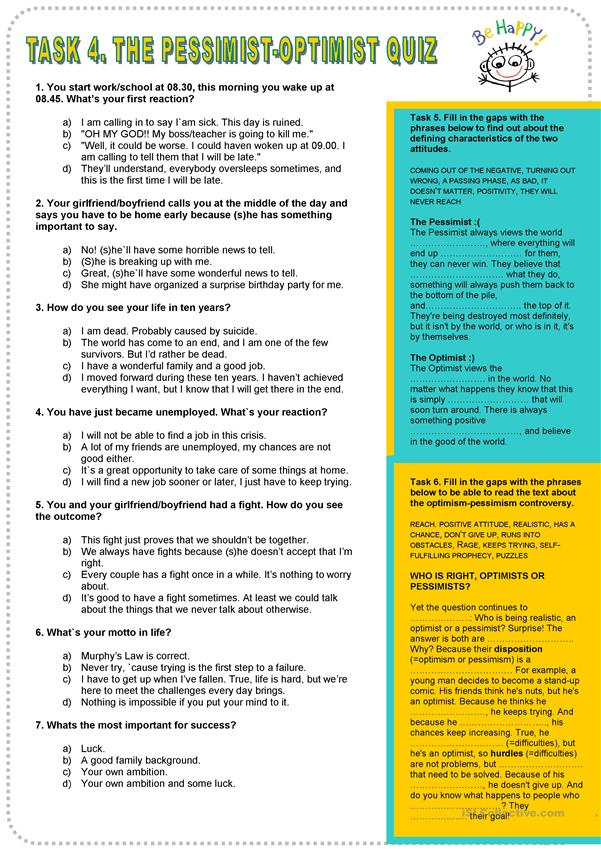 photograph relating to Printable Personality Quizzes named Pessimist-Optimist Individuality Quiz - English ESL Worksheets