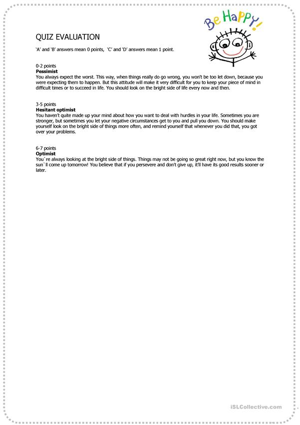 photo about Personality Quizzes Printable identify Pessimist-Optimist Character Quiz - English ESL Worksheets