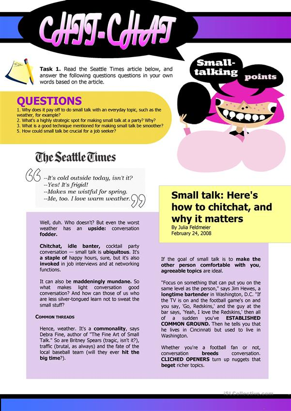 Small Talk. The Seattle Times