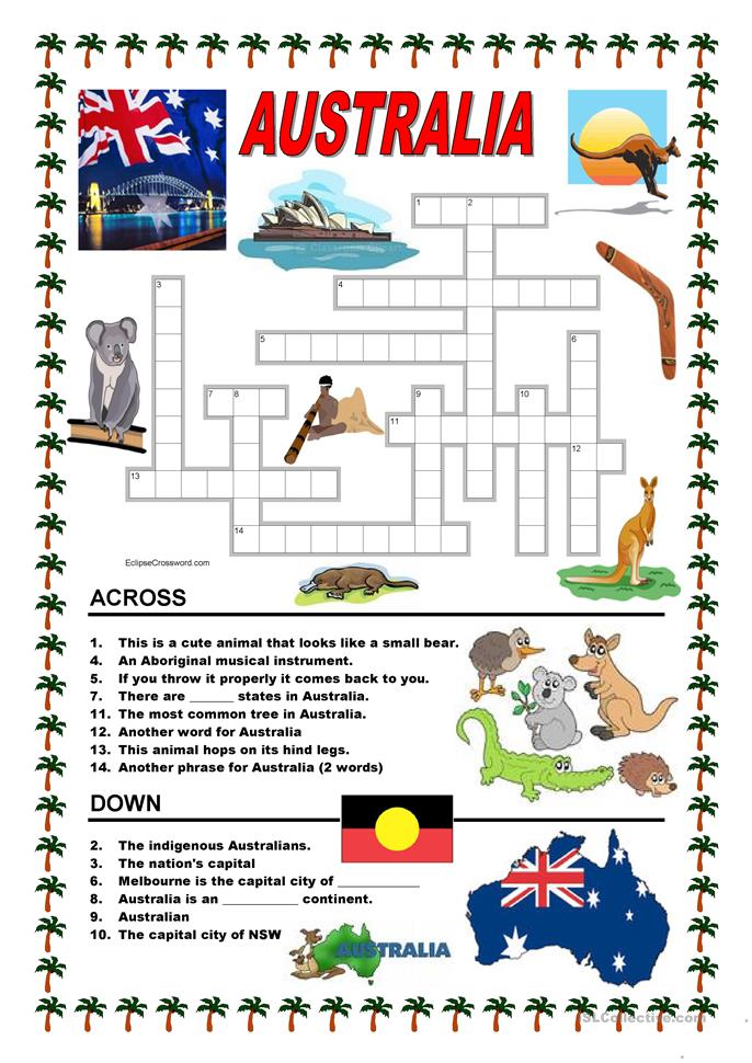 Printables Australia Worksheets 102 free esl australia worksheets crossword 1