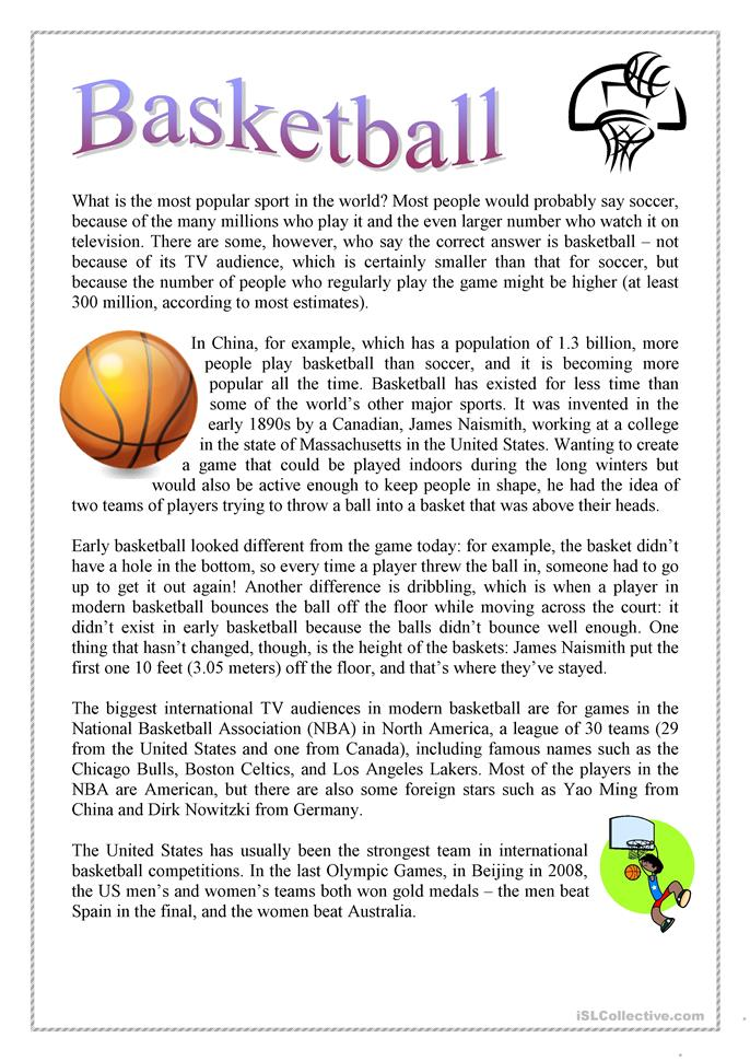 Basketball worksheet - Free ESL printable worksheets made ...