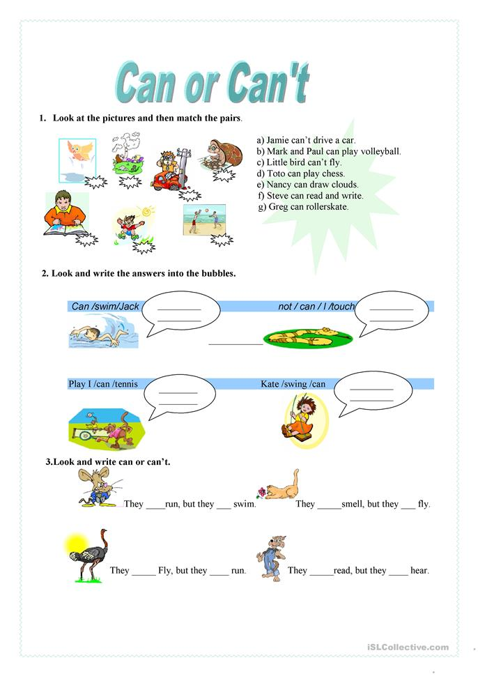Can or Can't - ESL worksheets