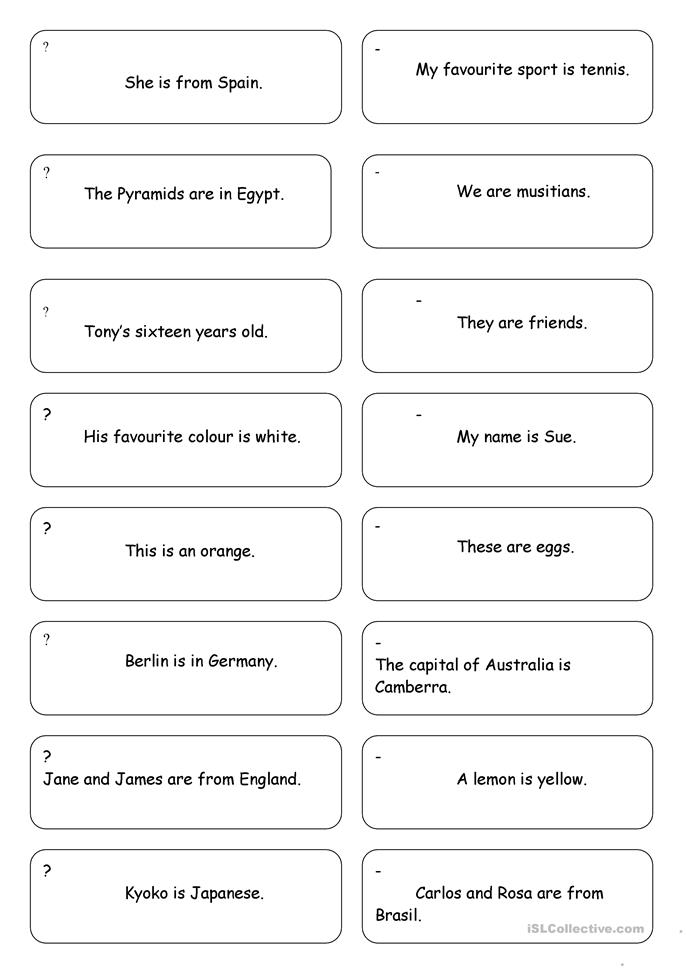 Cards for drilling to be - ESL worksheets