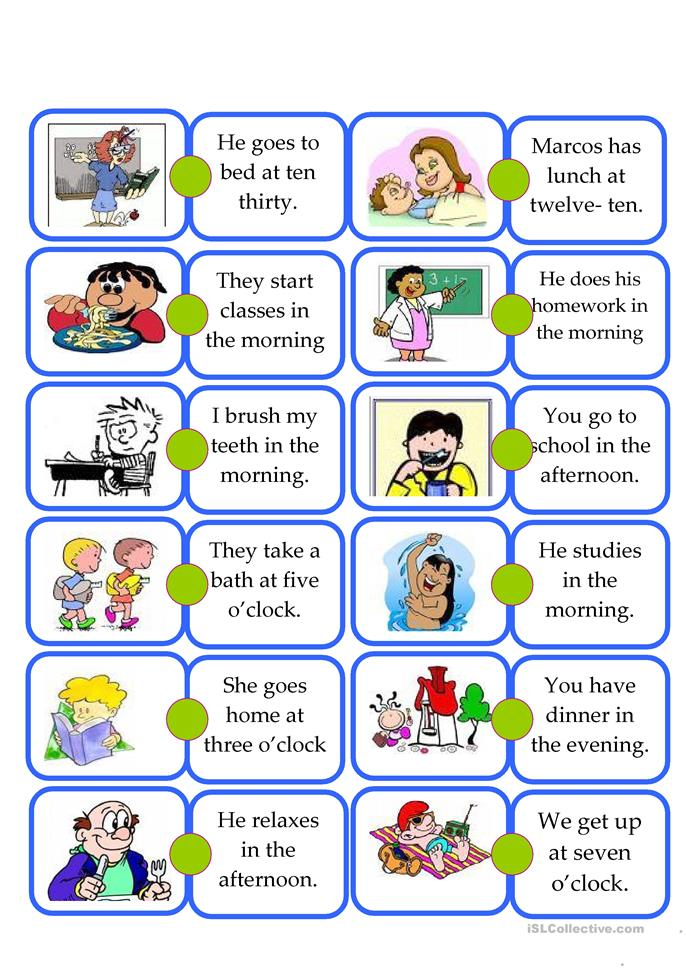 Domino DAILY ROUTINE -... - ESL worksheets