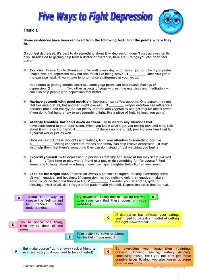 Printables Depression Worksheets 4 free esl depression worksheets five ways to fight depression