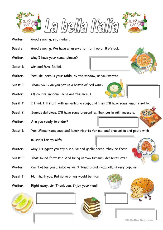 Worksheet Italian Worksheets 10 free esl italian worksheets restaurant