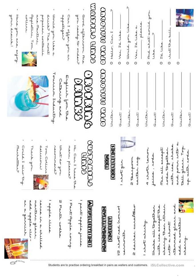 ORDERING DRINKS - ESL worksheets