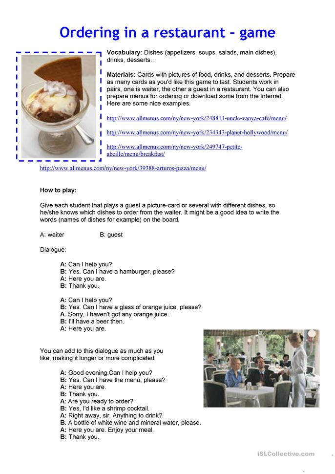 ORDERING IN A RESTAURANT - ESL worksheets