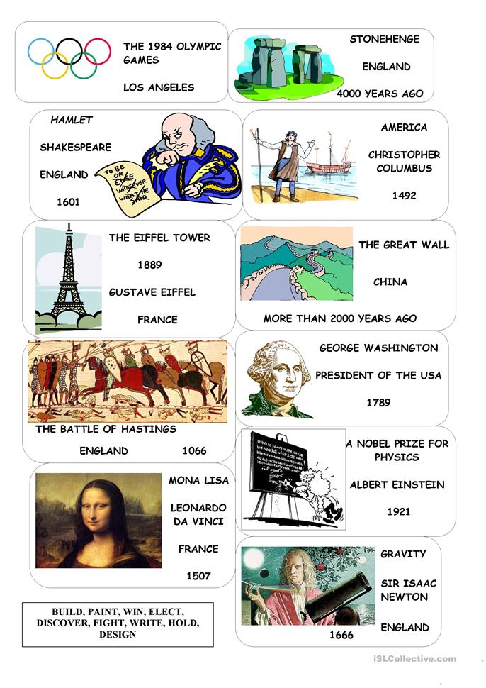 Passive in the past, important historical events - ESL worksheets