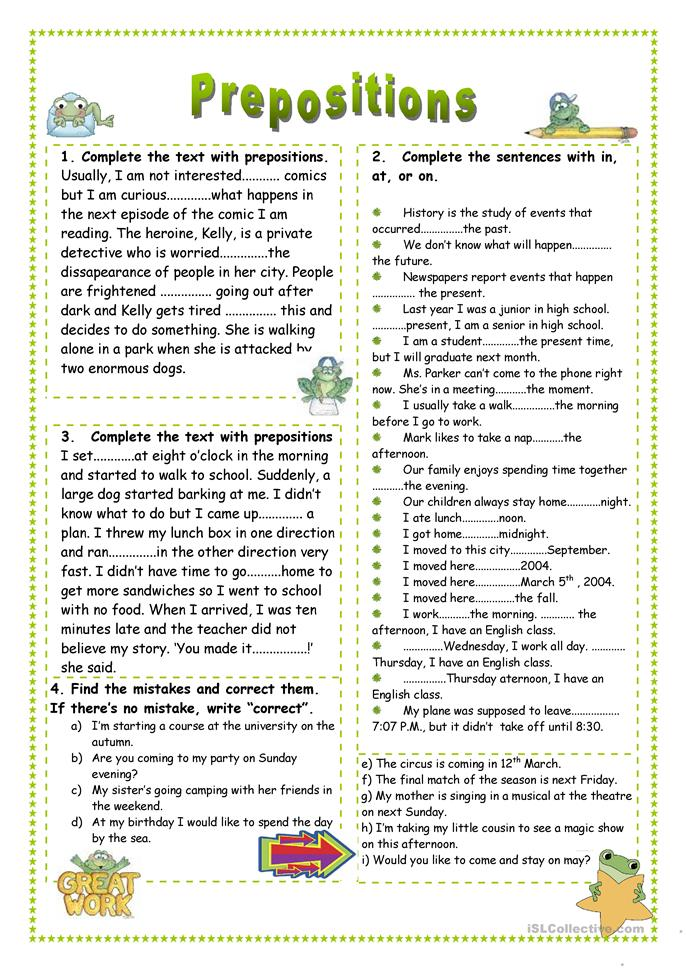 Prepositions - ESL worksheets