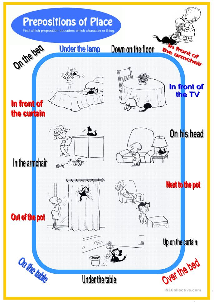 Preposition In Learn In Marathi All Complate: Prepositions Of Place W Black Cat Worksheet