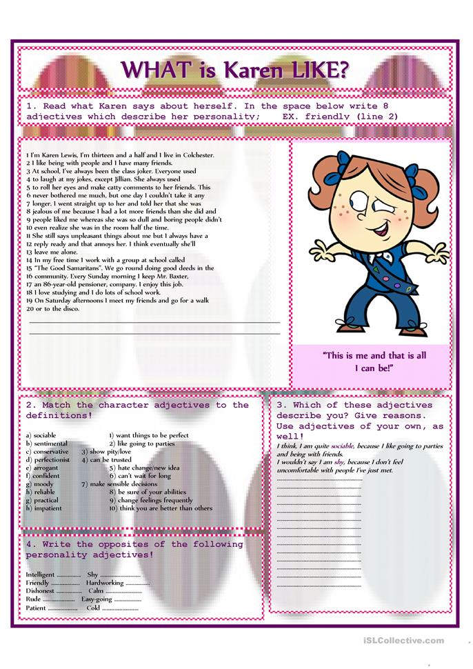 What is Karen like? - ESL worksheets