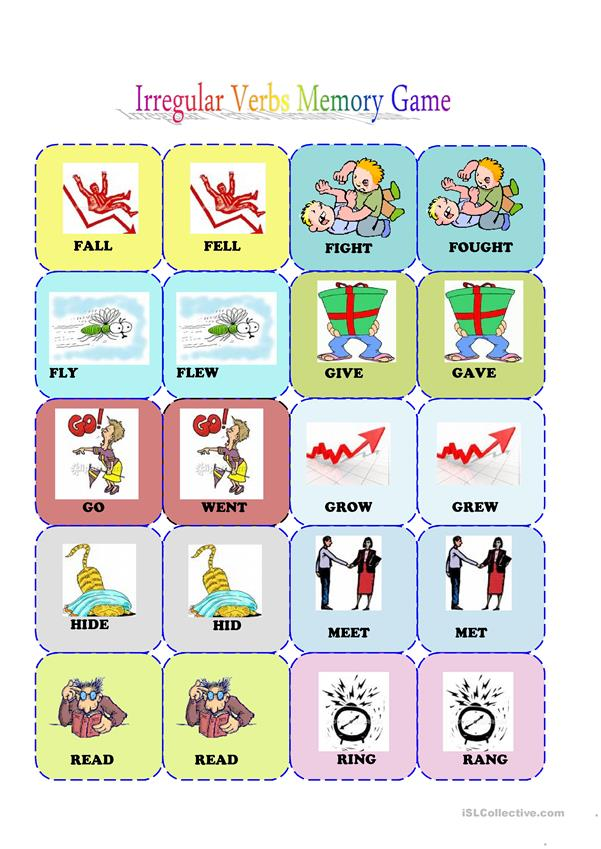Irrgular Verbs Memory Card Game (2/3) - English ESL Worksheets For Distance  Learning And Physical Classrooms