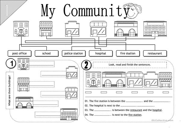 my community worksheet free esl printable worksheets made by teachers. Black Bedroom Furniture Sets. Home Design Ideas
