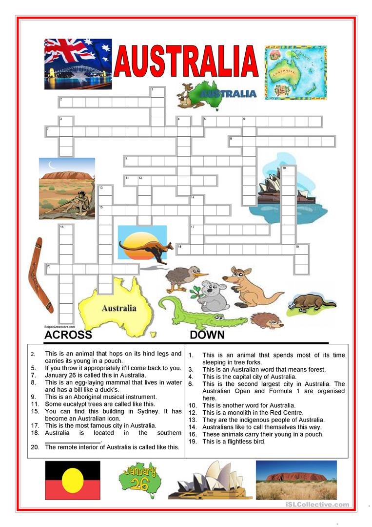 worksheet Worksheets About Australia 109 free esl australia worksheets crossword 2