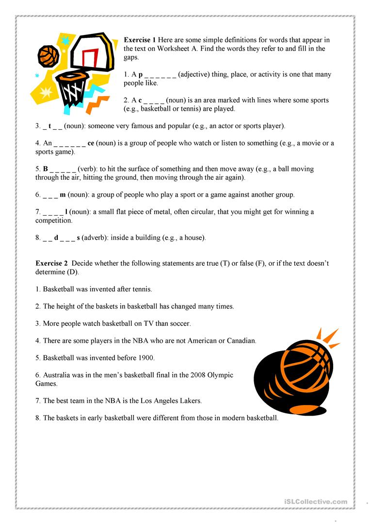 worksheet Basketball Worksheets basketball worksheet free esl printable worksheets made by teachers full screen