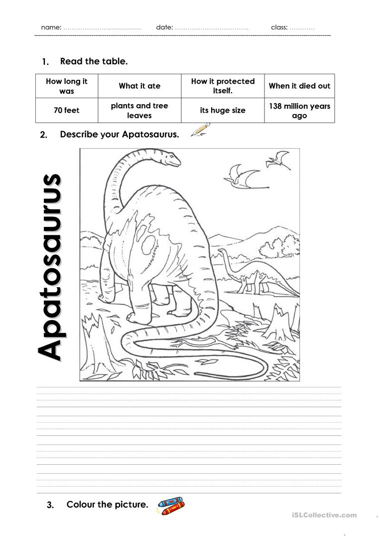 describe your dinosaur 01 worksheet free esl printable worksheets made by teachers. Black Bedroom Furniture Sets. Home Design Ideas