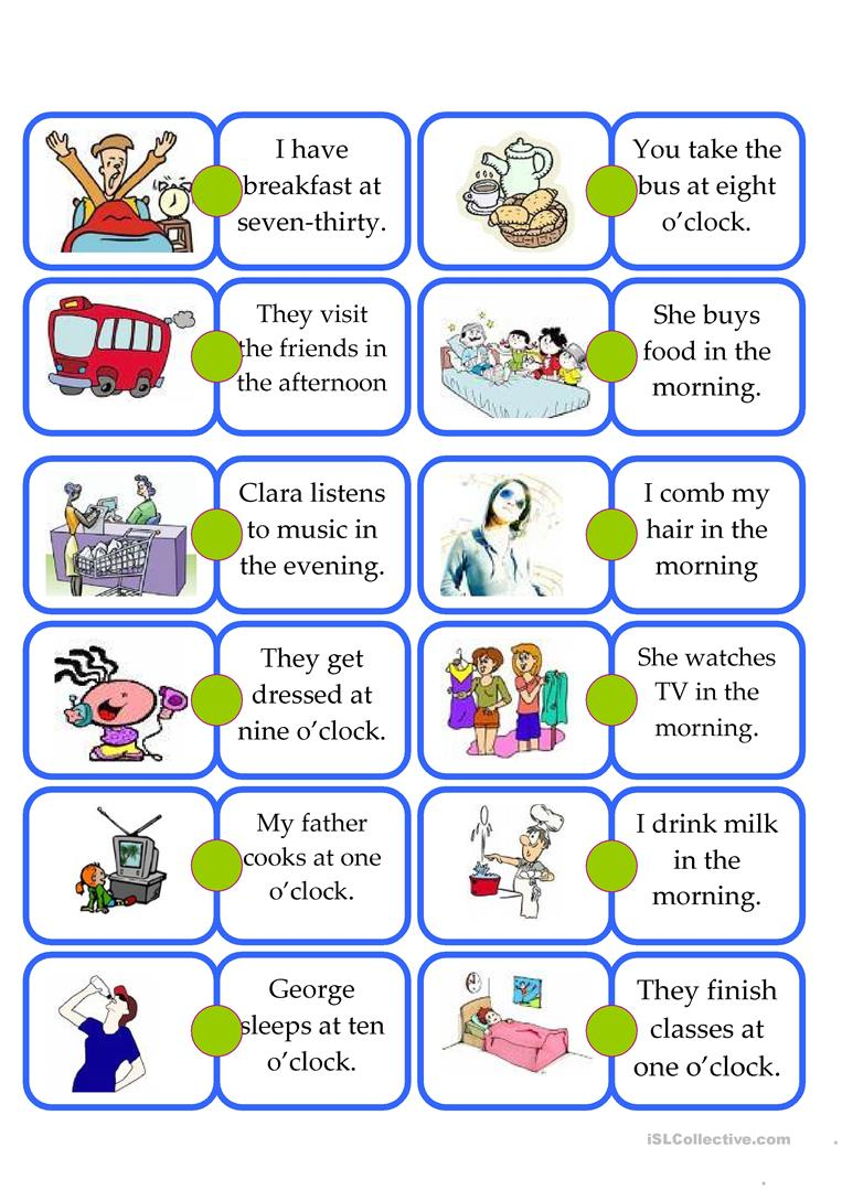 Domino Daily Routine Kids Worksheet Free Esl Printable Worksheets Made By Teachers
