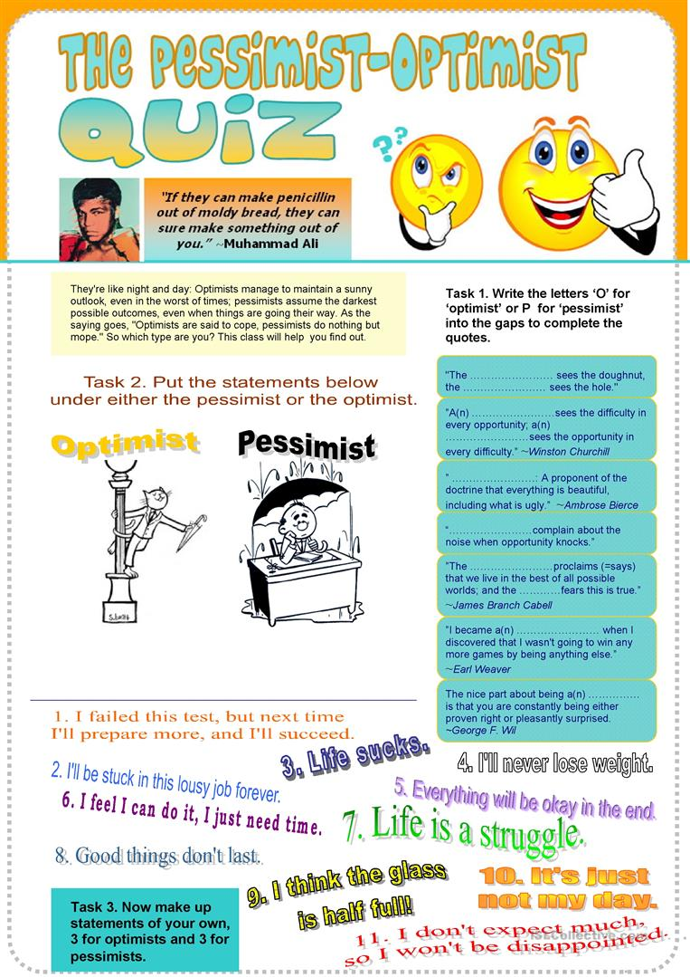 photo about Printable Personality Quizzes referred to as Pessimist-Optimist Temperament Quiz - English ESL Worksheets