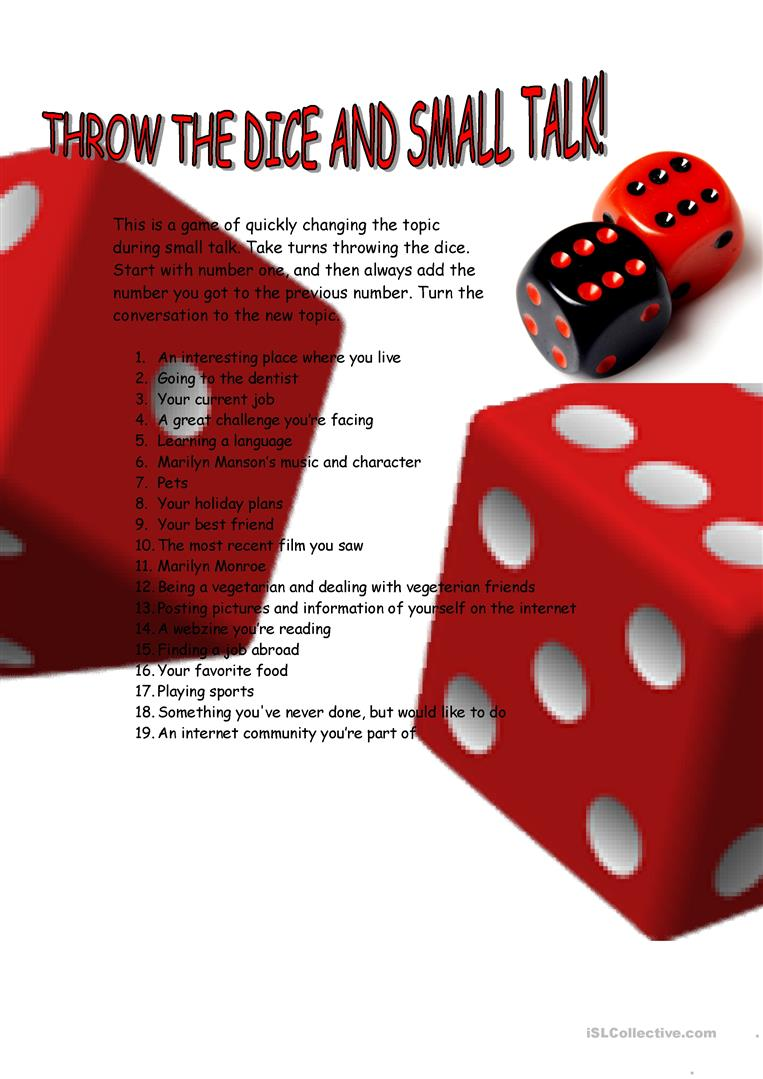 Throw A Dice.Small Talk Dice Throw Game English Esl Worksheets
