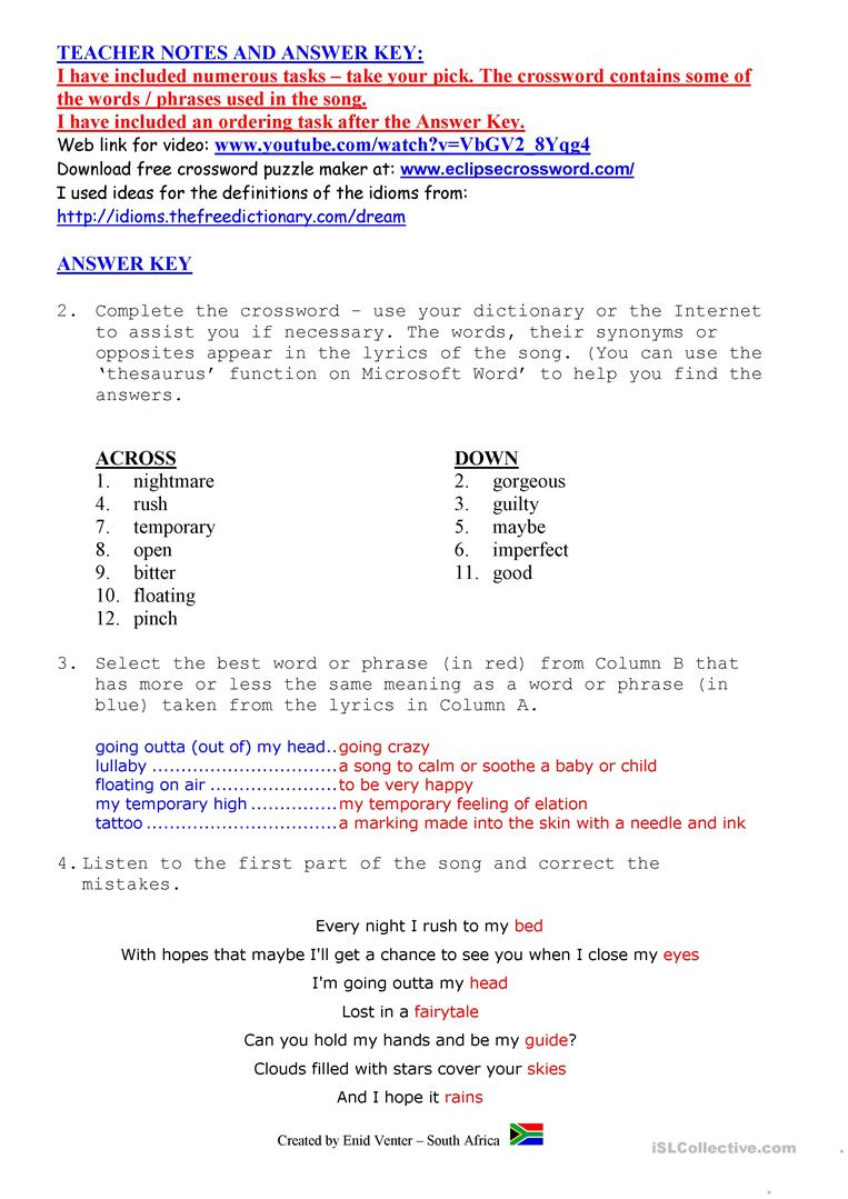 worksheet Thesaurus Exercise Worksheets song beyonce sweet dreams worksheet free esl printable full screen