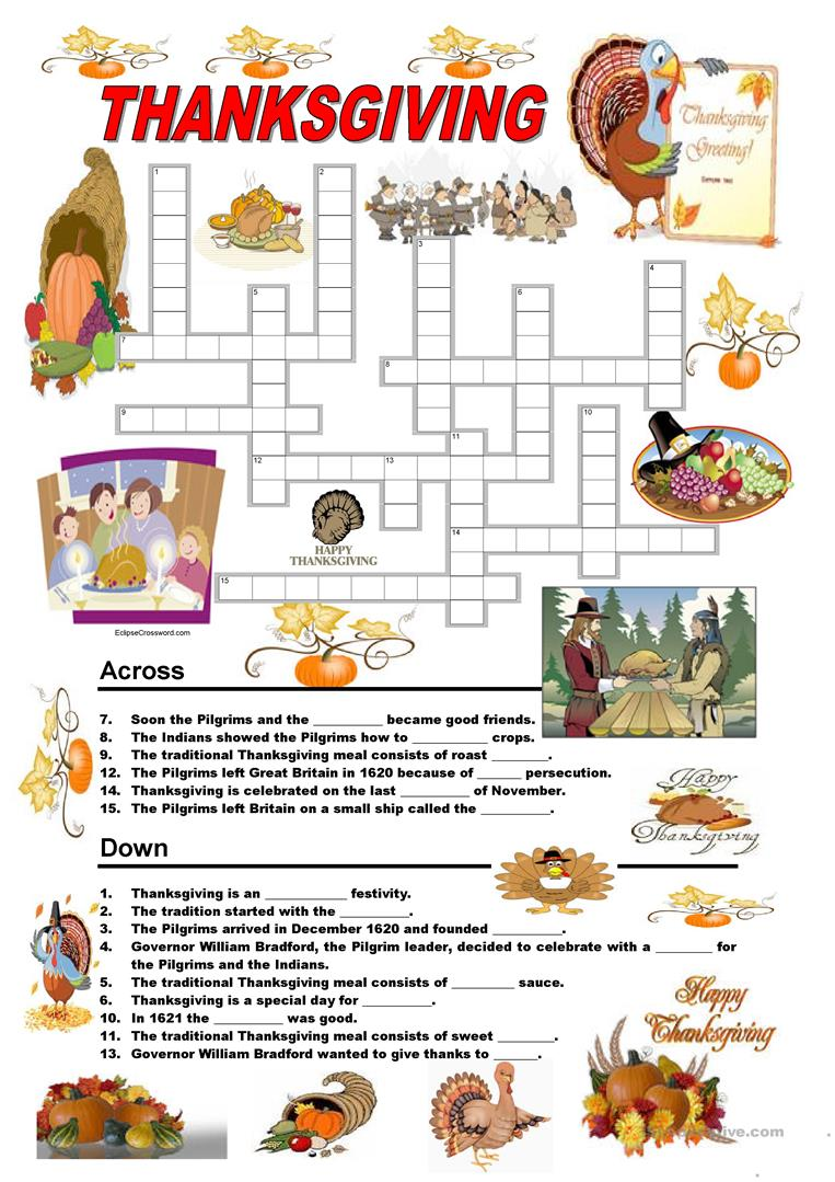 124 FREE ESL Thanksgiving worksheets