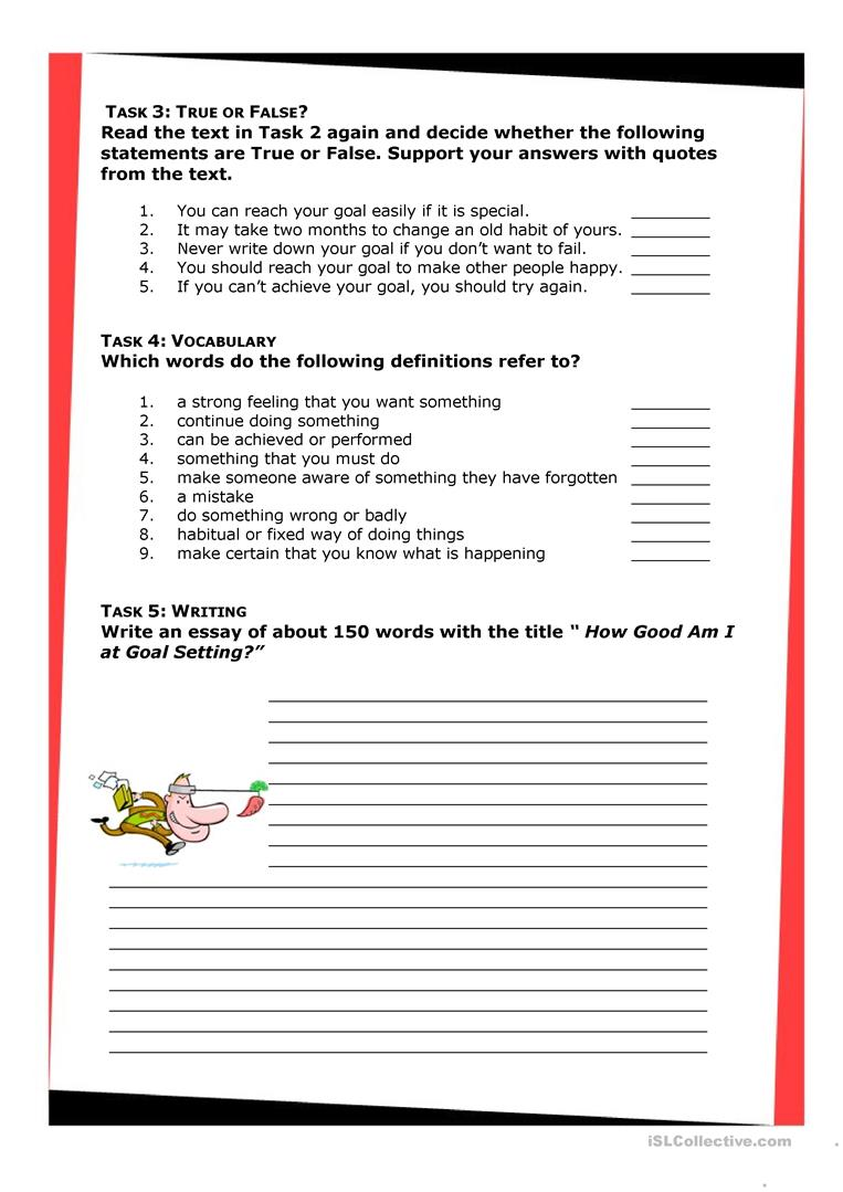 goal setting worksheet 4 essay
