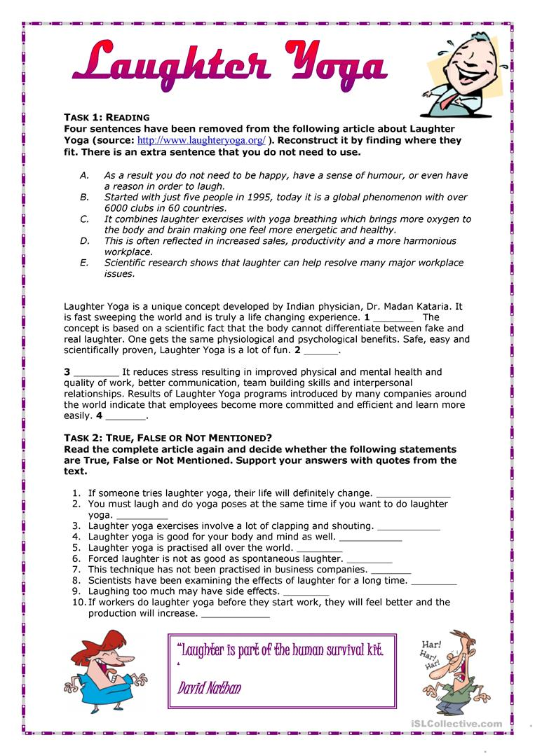 graphic about Printable Yoga Worksheets named What is Laughter Yoga? - English ESL Worksheets