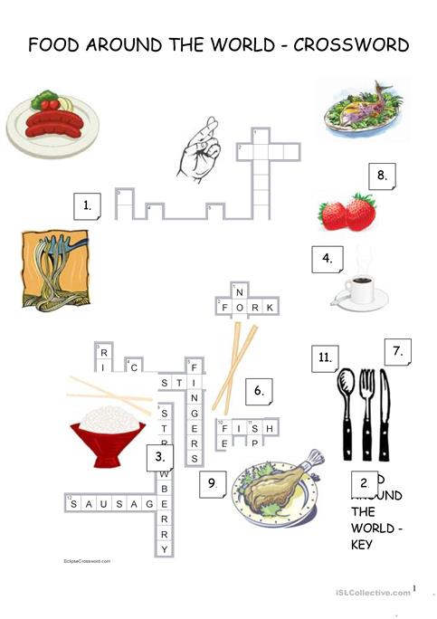 Food around the world crossword worksheet free esl printable food around the world crossword ibookread Download