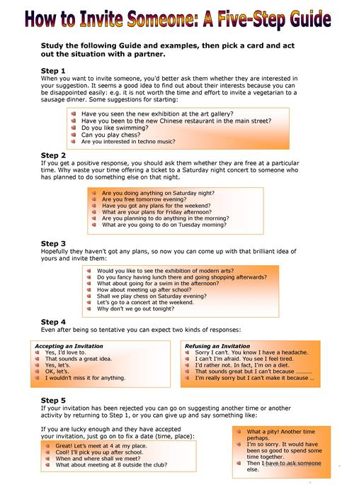 How to Invite Someone:A Five-Step Guide worksheet - Free ESL ...