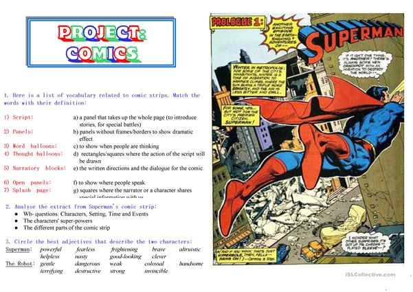 COMICS Part 1 of 5 - Superman extracts and activities