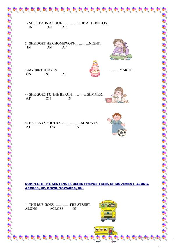 PREPOSITIONS OF PLACE, TIME AND MOVEMENT