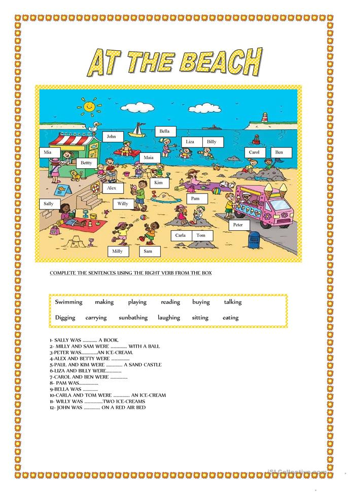 AT THE BEACH - ESL worksheets