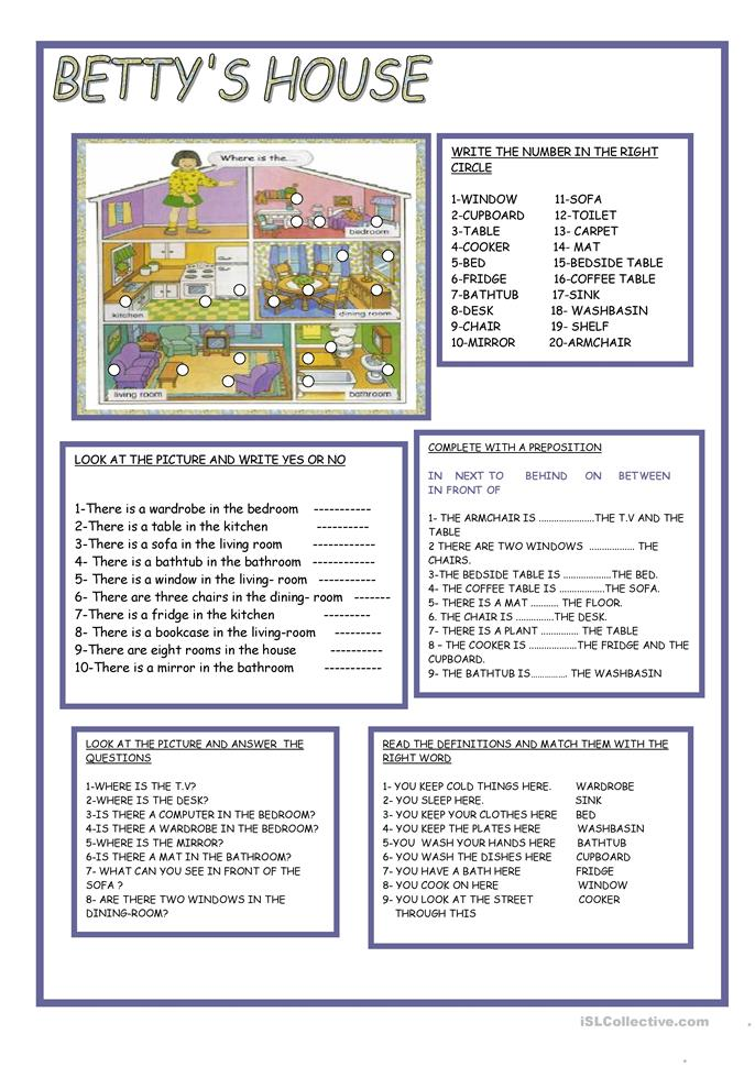 Betty39s house worksheet free esl printable worksheets for Describe furniture in your home