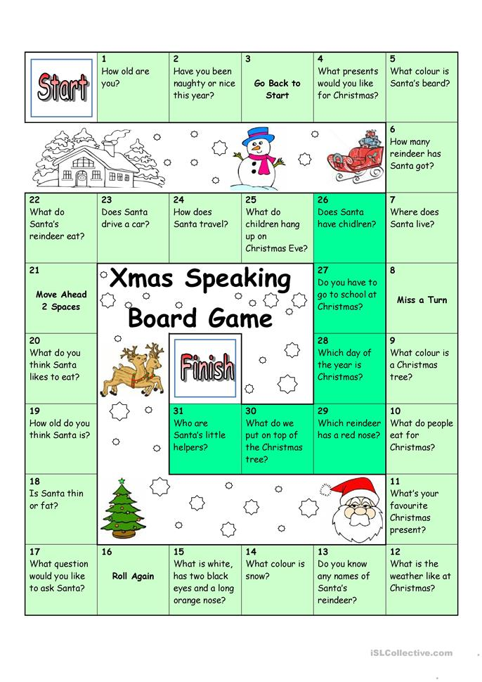 Board Game - Christmas & Santa - ESL worksheets