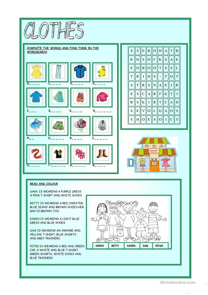CLOTHES - ESL worksheets
