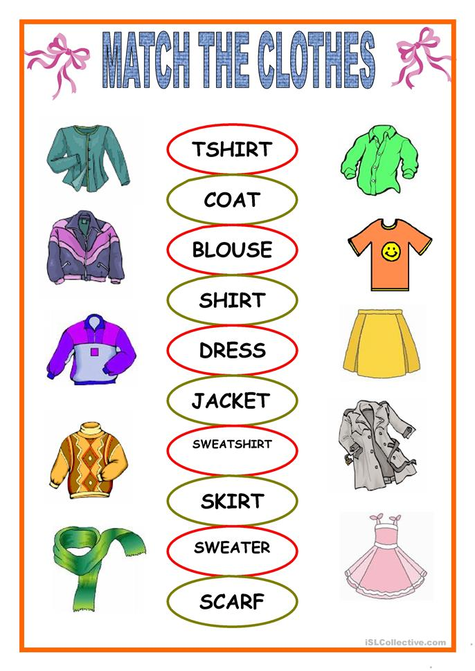 clothes matching - ESL worksheets