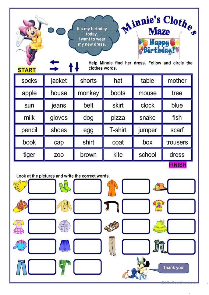 CLOTHES MAZE - ESL worksheets
